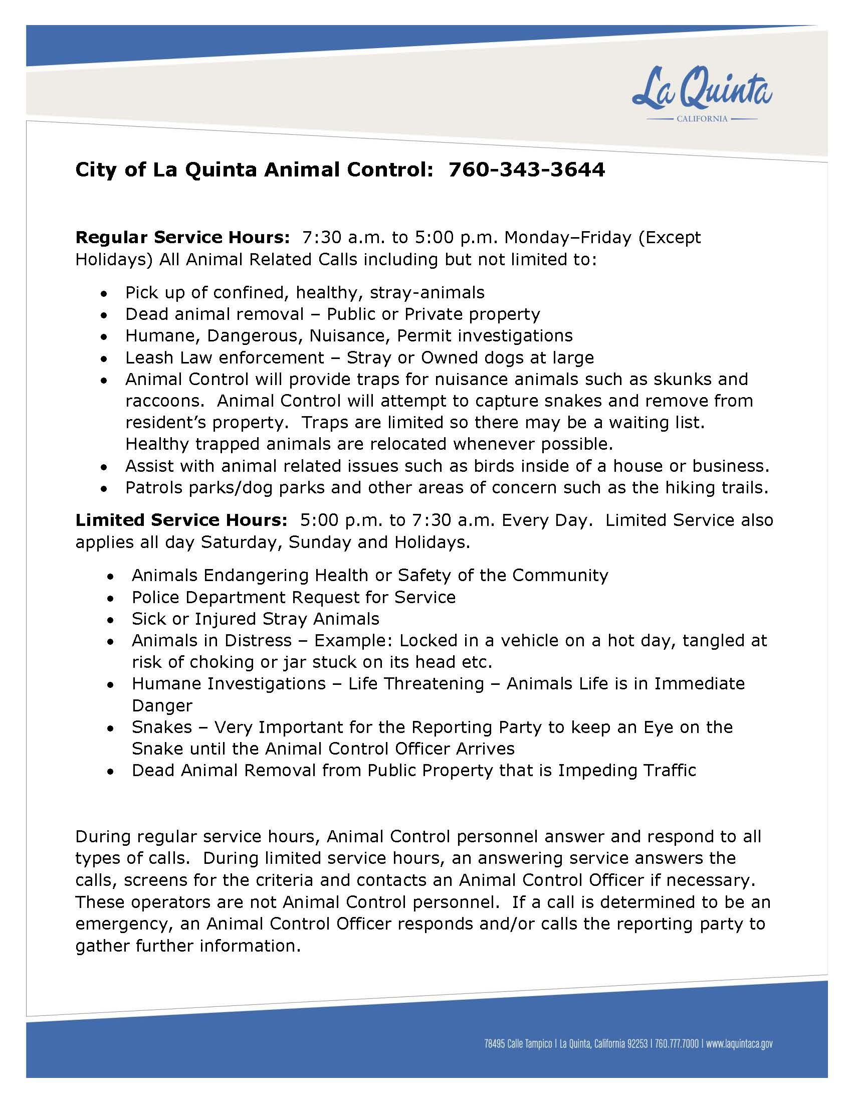 ANIMAL CONTROL INFORMATION