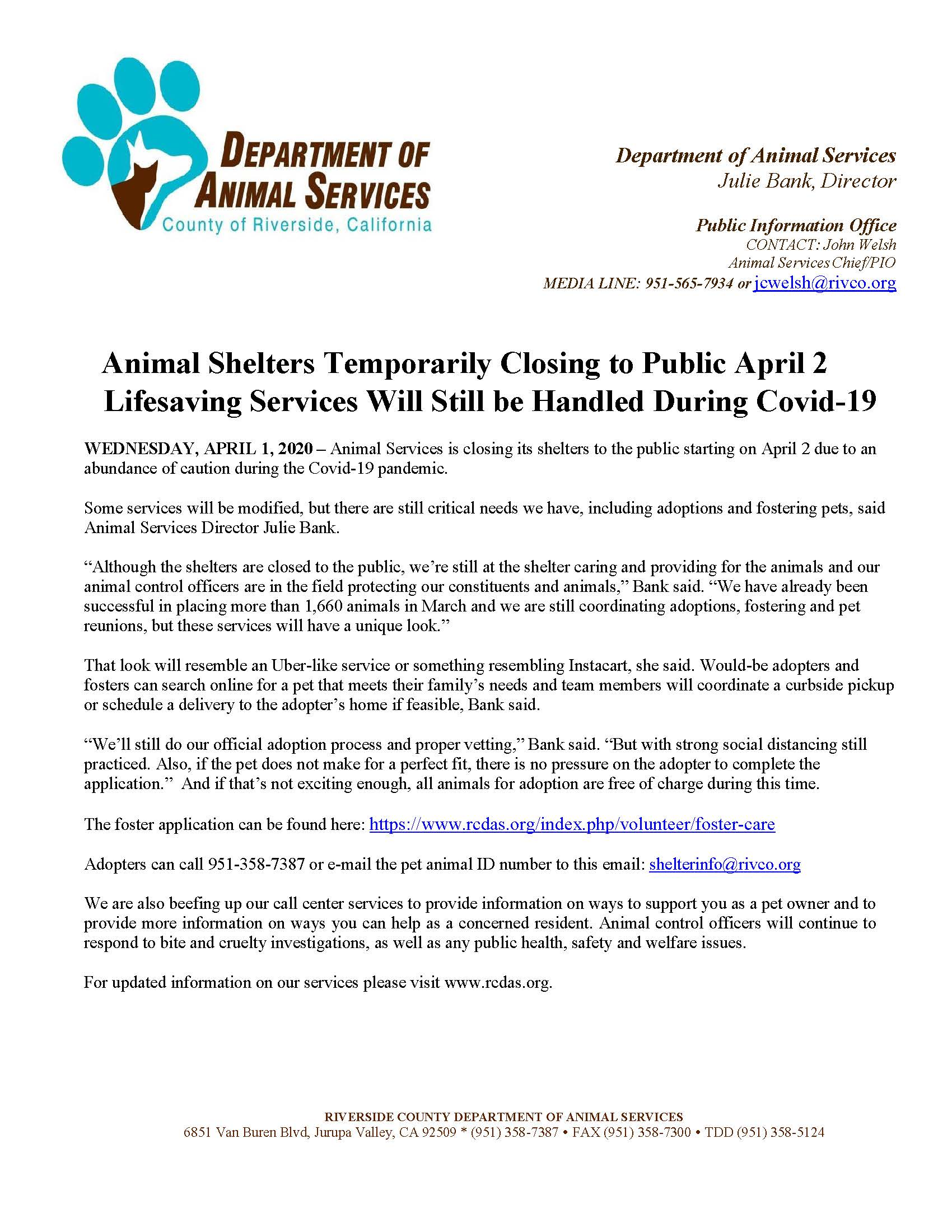 NEWS from Riverside County Animal Services-Shelters to Close Starting April 2